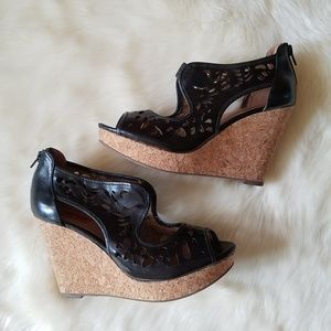Miz Mooz Kayla Cork Wedges Black w Cutouts Size 9